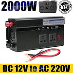 Car 2000W Power Inverter DC 12V to AC 220V - 4 USB Charging Ports + 2 Outlets + 2 Cigarette Sockets + Digital Display + Battery Cables for Outdoor Travel Phone Charge, Laptop, TV, DVD (2000W)