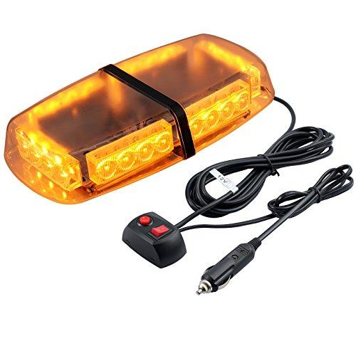 Car Roof Light 12V Waterproof Strobe Warning Light 24LED with Double Switch 5M Cigarette Lighter Cable 7 Flash Modes 24W Amber Emergency Light Vehicle Roof LED Light for Cars Truck SUV
