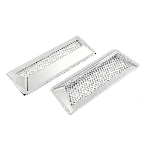 Car Vent Hole Cover Side Air Flow Decorative Sticker Silver Tone 2pcs