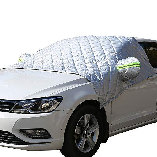 Car Windscreen Cover, Windshield Frost Cover Ice Protection Foils for Winter, Super Thick Extra Large Snow Cover with Wing Mirror Cover and Reflective Stripes Fits Most Vehicles, SUVs