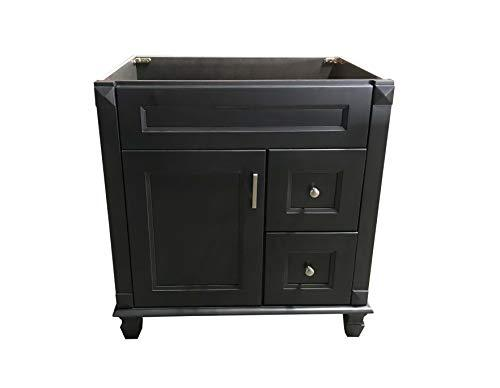 "Carbon Metallic Solid Wood Single Bathroom Vanity Base Cabinet 30"" W x 21""D x 32"" H (Right Drawers)"