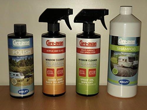 Care-avan Caravan Cleaning Set (Shampoo,Polish,Acrylic Window & Multi Surface Interior Cleaner) UK's Best Endorsed by Bailey Caravan Free Postage