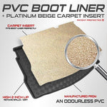 carmats4u Fully Tailored PVC Boot Liner/Mat/Tray + FREE Beige Platinum Carpet Insert