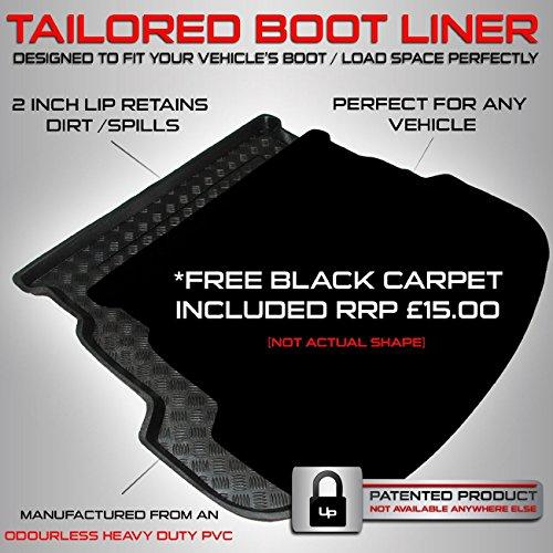 carmats4u Fully Tailored PVC Boot Liner/Mat/Tray + FREE BLACK Velour Carpet Insert