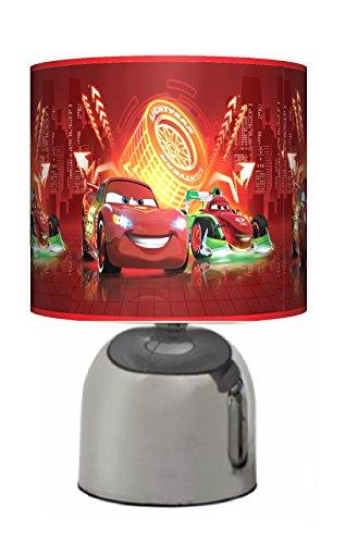 CARS NEON - BEDSIDE TOUCH LAMP - BOYS BEDROOM LIGHT / LAMP SHADE - RED - MAINS OPERATED (UK PLUG)