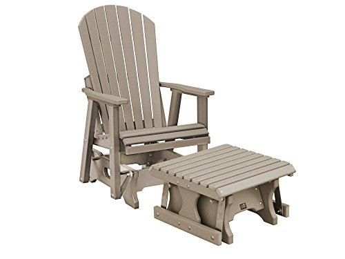 CASA BRUNO Original Alabama Single-Glider w/ Footstool, made of recycled Polywood® HDPE plastic lumber, patina-grey - unconditionally weather-resistant