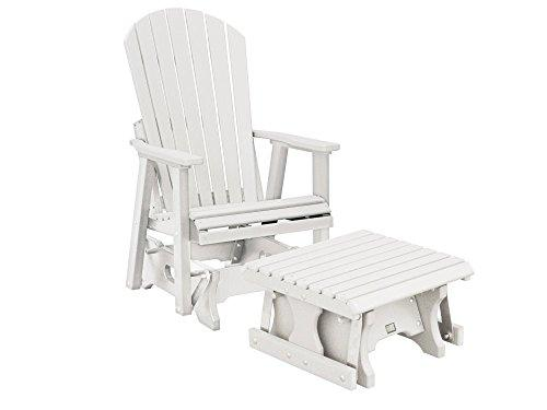 CASA BRUNO Original Alabama Single-Glider w/ Footstool, made of recycled Polywood® HDPE plastic lumber, white - unconditionally weather-resistant