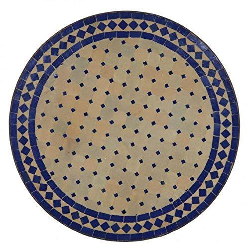 "Casa Moro Round mosaic garden terrace balcony side outdoor table wrought iron patina ""Blue with diamond pattern D60"" Diameter tabletop: 23,62"". Height: 29,73"". Handmade Handiraft Marrakesh MT2031"