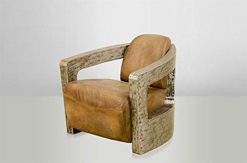 Casa-Padrino Art Deco leather armchair Mars Leather Beige/Vintage Silver - club chairs - Lounge Chair