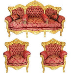 Casa-Padrino Baroque Living Set Bordeaux Bouquet pattern/Gold - 3er sofa + 2 armchairs
