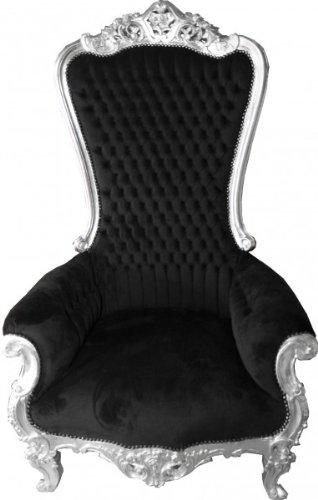 Casa-Padrino baroque throne Majestic Black/Silver - Giant Armchair Throne Chair Tron