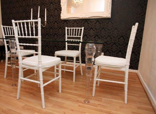 Casa-Padrino Designer Acrylic Dining Set Black/White - Ghost Chair Table - polycarbonate furniture - a table and 4 chairs