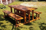 Casa-Padrino garden furniture set Rustic table + 2 garden benches Mod GM2 - oak solid wood - real wood furniture Solid