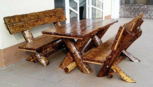 Casa-Padrino garden furniture set Rustic table + 2 garden benches - oak solid wood - real wood furniture Solid