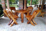 Casa-Padrino garden furniture set Rustic table + 4 garden chairs - solid oak - solid wood furniture Solid