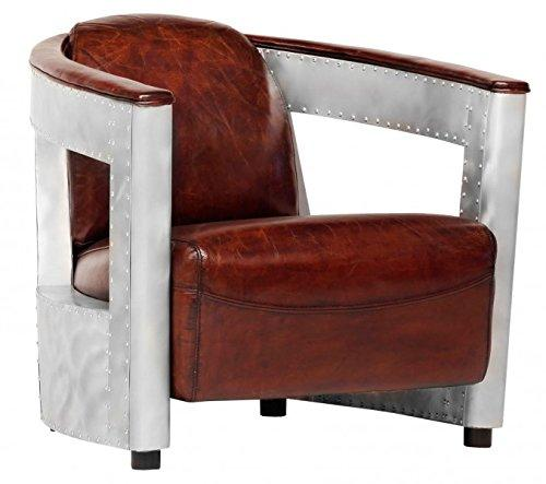 Casa-Padrino leather armchair Art Deco Chrome/Black - club chairs - Lounge Chair - Vintage leather