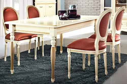 Casa-Padrino Luxury Baroque Dining Room Set Cream/Gold/Orange - Extendible Kitchen Table with 4 Dining Chairs - Baroque Dining Room Furniture