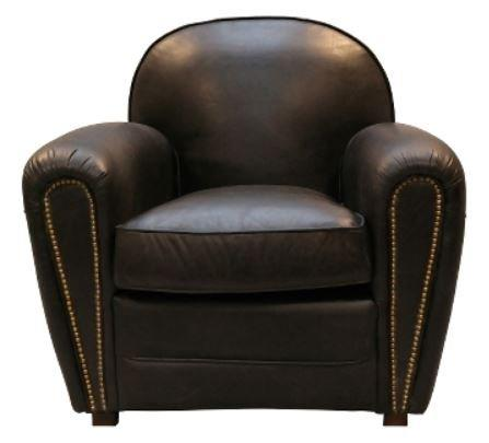 Casa-Padrino luxury genuine leather armchair black 88 x 76 x H. 88 cm - Luxury Collection