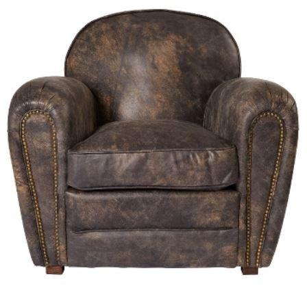 Casa-Padrino luxury genuine leather armchair vintage dark brown 88 x 76 x H. 88 cm - Luxury Collection