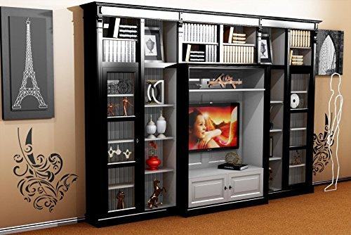 Casa-Padrino luxury living room wall unit Black/White B 372 x H 255 cm bookcase shelving cabinet television TV - Art Deco Art Nouveau hotel furniture