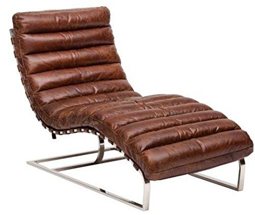 Casa-Padrino Luxury Real Leather Vintage Oviedo couch/chair Cigar Brown - leather armchairs Art deco lounge reclining chair