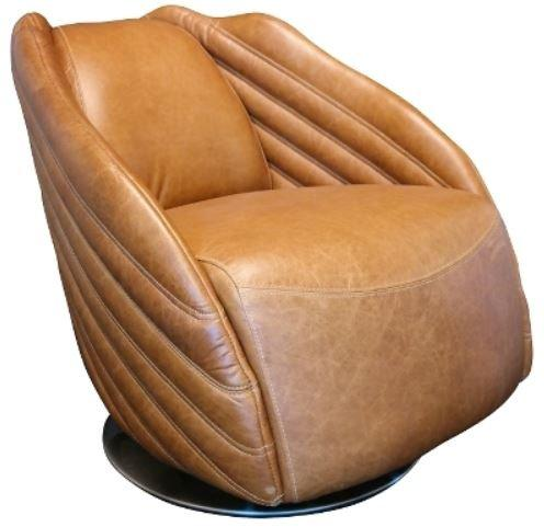 Casa-Padrino luxury swivel armchair light brown/silver 69 x 97 x H. 79 cm - Genuine Leather Armchair in Art Deco Design