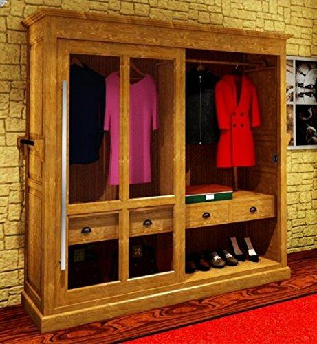 Casa-Padrino luxury wardrobe B 226 x H 220 cm haute couture bedroom closet glass sliding door - Art Deco Art Nouveau hotel furniture, color:Schwarz lackiert