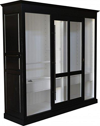 Casa-Padrino luxury wardrobe B 226 x H 220 cm haute couture bedroom closet with sliding glass door Black/White - Art Deco Art Nouveau hotel furniture