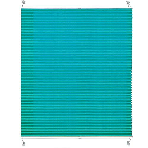 casa pura Semi-Translucent Pleated Blind | Quick Fix Privacy Shade | Plissee Magic - Turquoise, 120 x 200 cm | Multiple Colours & Sizes