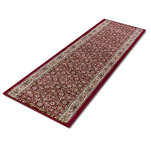 casa pura® Foehr Oriental Carpet Floor Runner Rug 120x3000cm, Red | Non-Slip | Custom Width & Length | Matching Stair Treads Available | Pollution Free, Non-Shedding