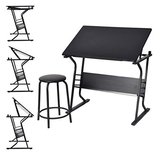 CASART Tiltable Tabletop Drawing Table Art and Study Desk w/ Stool & Drawers for Child Students (Style 5)