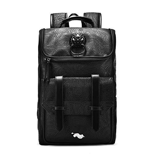 Casual Backpack PVC Leather Vintage 14-15 Inch Laptop Backpack, Fashion School College Student Backpack Travel Tablet Backpack For Men Black,Black-one