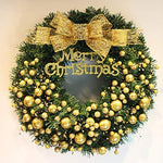 CATLXC Christmas Decorations Christmas Wreath Golden Bow Christmas Balls - Artificial Flower Decorated Christmas,80cm