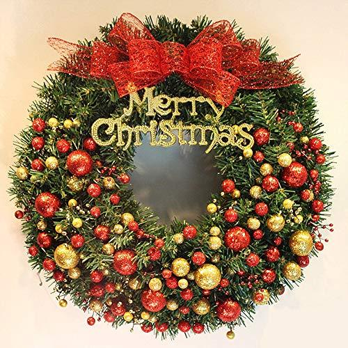 CATLXC Christmas Decorations Christmas Wreath Golden Red Christmas Ball Red Glitter Bow - Artificial Flower Decorated Christmas,80cm