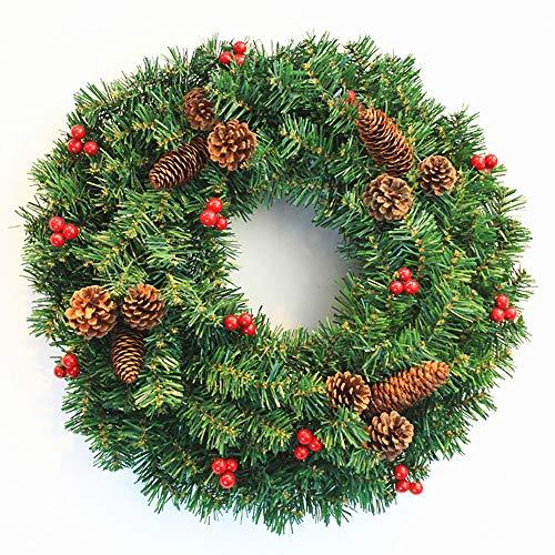 CATLXC Christmas Decorations Christmas Wreath Pine Cone Green Spruce Red Berries - Artificial Flower Decorated Christmas,80cm