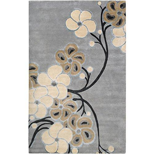 CC Home Furnishings 9' x 13' Floral Medley Flax Seed and Dark Khaki Wool Area Throw Rug