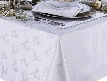 Celebration Deer White/Silver Metallic Effect Christmas Rectangular Tablecloth And 8 Napkin's Package Set Ideal For 6-8 Place Settings (Tablecloth 70x90in-Napkins 17x17in)