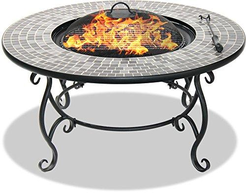 Centurion Supports Fireology GINESSA Sumptuous Garden & Patio Heater Fire Pit Brazier, Coffee Table, Barbecue and Ice Bucket with Mosaic Ceramic Tiles (Certified Refurbished)