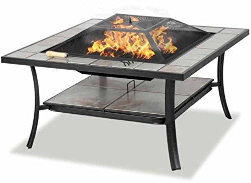 Centurion Supports SHANGO Premium Multi-Functional Black with Ceramic Tiles Outdoor Garden & Patio Square Heater Fire Pit Brazier and Outdoor Table (Certified Refurbished)