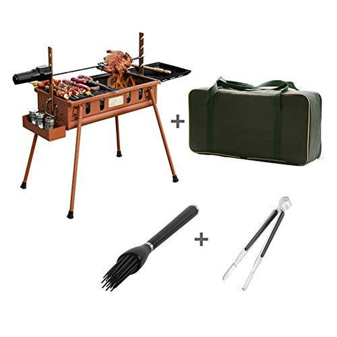 Charcoal Barbecue Grill, Portable Free Standing Carbon Stove With Grill Net And Brush Electric Bracket Non-Stick For Garden Outdoor Camping Picnic Brown