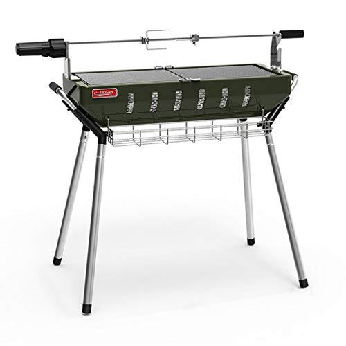Charcoal Barbecues Barbecue Detachable Barbecue Portable Collapsible Carbon Oven Stainless Steel Grill Electric Rotary Fork Travel Outdoor Picnic Barbecue Tool (Color : Green, Size : 97 * 26 * 73cm)