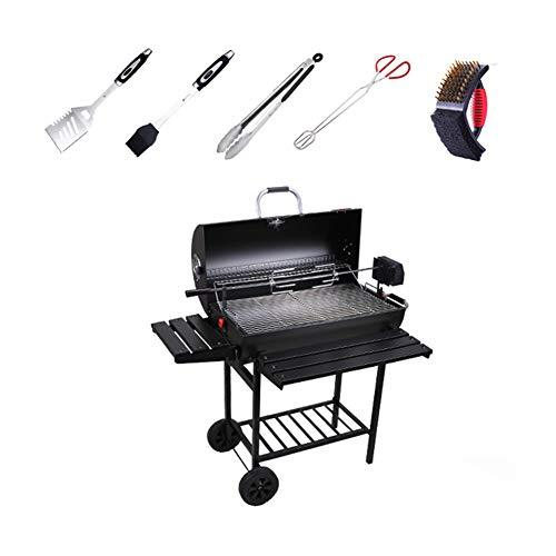 Charcoal Bbq Grill_Thicken Smoker Large Barbecue Shelf Grill With Electric Rotating Barbecue Bracket Grilled On Wheels For Outdoor Picnic Party Garden Black