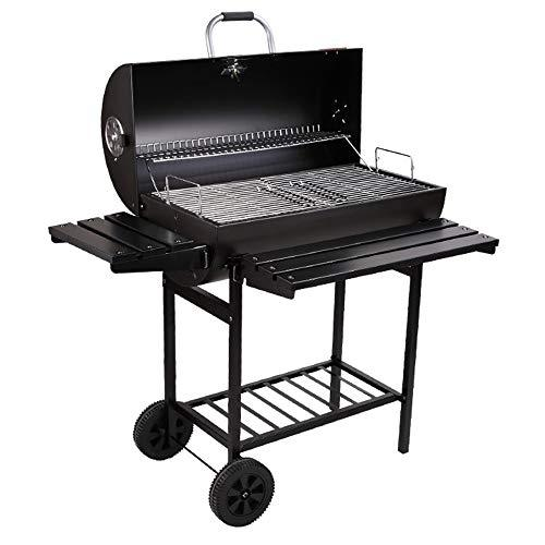 Charcoal grill, portable 304 stainless steel with wheels, with wind regulator and adjustable temperature device, garden terrace outdoor gourmet cooking barbecue party/82cmX47cmX28cm