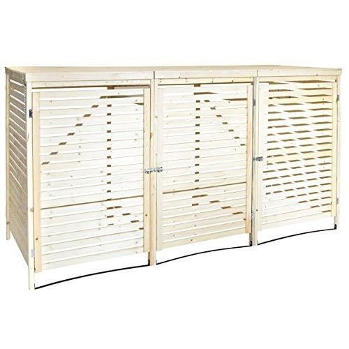 Charles Bentley Natural Spruce Wooden Outdoor Wheelie Bin Garden Storage Cupboard - Triple
