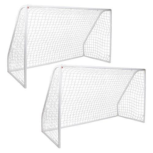 Charles Bentley Pair Of Kids Junior 12Ft X 6Ft White Football Hockey Goals Inc Net Clips And Ground Pegs