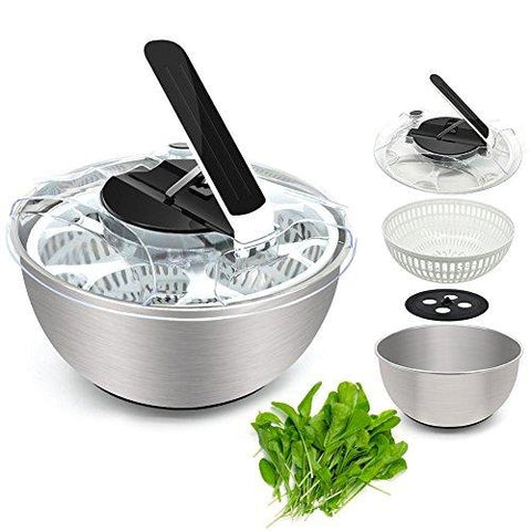 CHEFLY Large Stainless Steel Non-Skid Collapsible Veggie Salad Spinner 5 Quarts Quick Lettuce Washer Dryer Mixer Centrifuge S1808