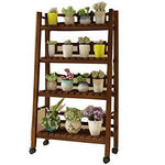 CHENGXI Flower shelf wooden plant stand outdoor indoor multi-layer flower pot display cabinet garden balcony living room floor solid wood shelf (Color : A-Brown, Size : Four floors)