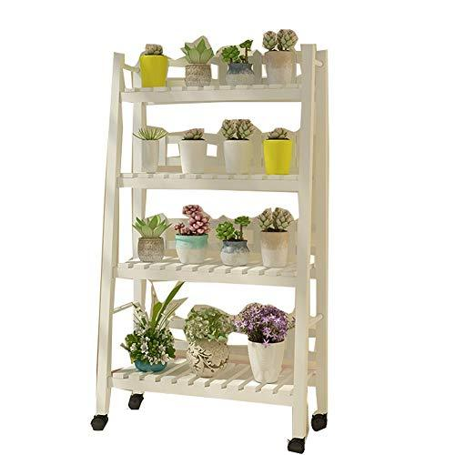 CHENGXI Flower shelf wooden plant stand outdoor indoor multi-layer flower pot display cabinet garden balcony living room floor solid wood shelf (color : A-White, Size : Four floors)