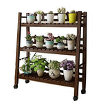 CHENGXI Wooden flower stand plant frame bonsai frame multi-layer flower pot display stand indoor and outdoor garden terrace balcony (color : A-80-Brown-, Size : Three floors)