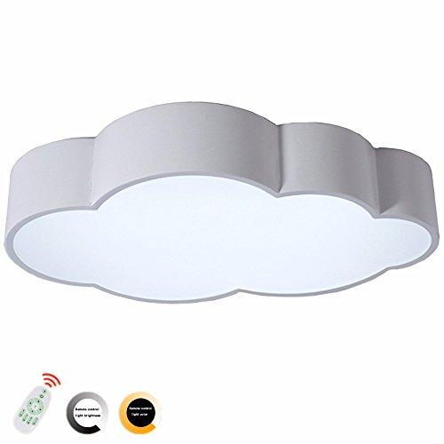 Children Ceiling Light Creative Cloud Shape Ceiling Light 4 Colors LED Acrylic Remote Control Stepless Dimming Light Ceiling Lamp for Kids Room Classroom,White stepless dimming,50CM